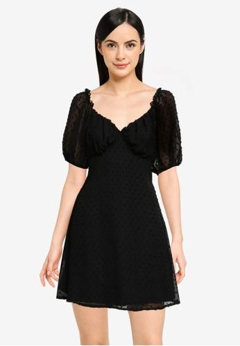 MISSGUIDED black Milkmaid Skater Dress 5191AAAFBE4005GS_1