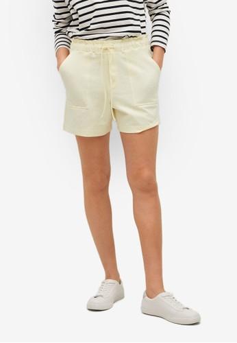 Mango yellow Pockets Cotton Shorts E7AE2AAEA842CBGS_1