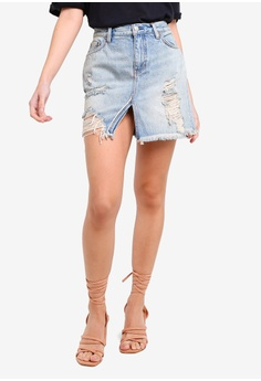 0fa80c267a0d ... NOW RM 79.90 Sizes XS S M. Free People blue Relaxed   Destroyed Skirt  CF61BAADC2BFC0GS 1