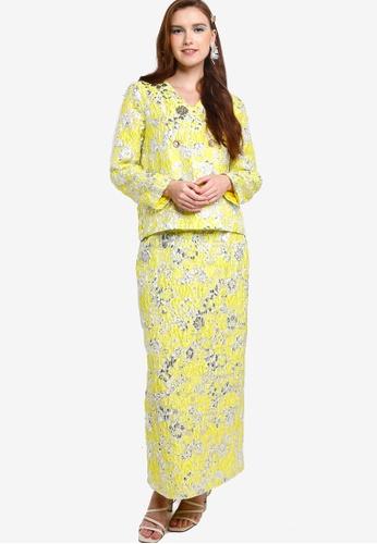 Lubna yellow Floral Brocade Blazer Kurung 4A63EAAD4C7457GS_1