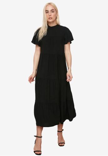 Trendyol black Short Sleeve Maxi Swing Dress D7C27AAC3F9349GS_1