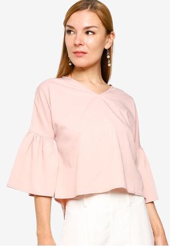 ZALORA WORK pink Gathered Sleeves V Neck Top B7D59AA89E5378GS_1