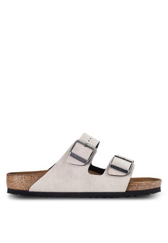 Birkenstock 灰色 Arizona Pull Up Vegan Sandals BI090SH09JOWMY_1