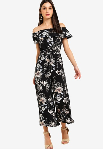 ZALORA black and multi Off Shoulder Jumpsuit 3234EAA8753C56GS_1