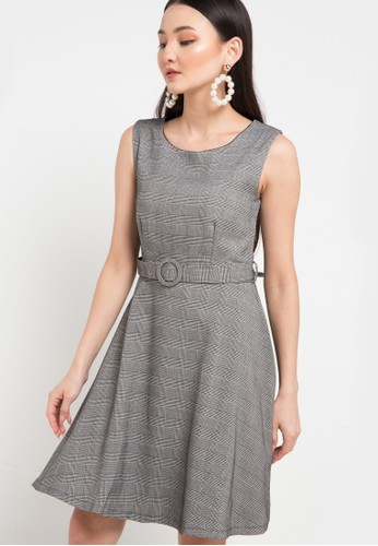 Uptown Girl multi and grey Round Buckle Belt Houndstooth Sleeveless Dress 2D4A0AA53A8B9AGS_1