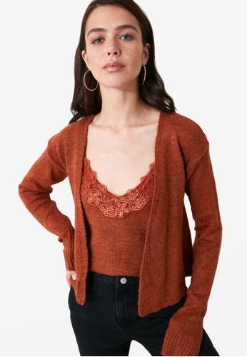 Trendyol orange Lace Cami Cardigan Knitwear Set 65754AA227C7BDGS_1