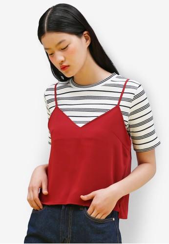 韓式風格條紋羅紋短袖esprit服飾上衣, 服飾, 上衣