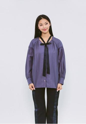 暮色藍頸繫帶泡泡袖襯衫zalora 折扣碼, 服飾, 上衣