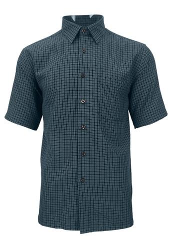 Pacolino blue Pacolino - Korea Polynosic Wrinkle Free Checker Formal Casual Short Sleeve Men Shirt 7EDFEAAEFC575BGS_1