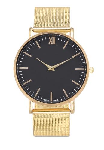 NUVEAU gold Round Face Gold Black Mesh Strap Watch 11E32AC69E1766GS_1