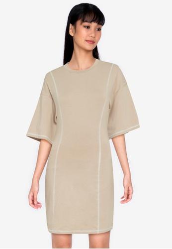 ZALORA BASICS beige Contrast Jersey Sheath Dress C8C52AAE2B5CA6GS_1