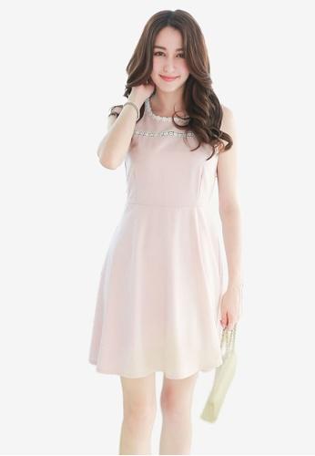 Yoco pink Floral Crochet Trim Dress FBB2BAA5D6403EGS_1