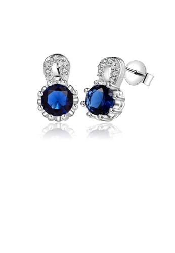 Glamorousky white Fashion Brilliant Geometric Round Blue Cubic Zircon Stud Earrings C6931ACFFC6257GS_1