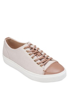 Leather Canvas Lace Up Sneakers