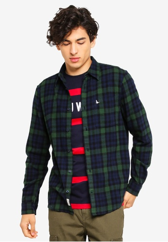 Jack Wills 綠色 法蘭絨格紋口袋襯衫 BB7B3AA15218EFGS_1