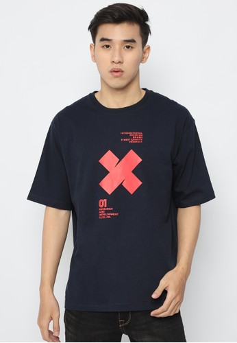 XTRAORDINARY (XO) navy Graphic Cotton Combed Oversize Fashion Tee AA9D9AA7EFA8F0GS_1