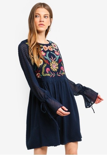 Brave Soul blue Long Sleeve Dress With Embroidery On The Front 79435AAEB36887GS_1
