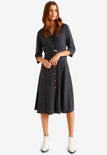 Mango grey Belt Striped Dress 6BC9DAAEE33C4CGS_1