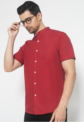 Johnwin red Slim Fit - Kemeja Casual - Kerah Bulat Polos - Merah B1939AA003DF6EGS_1