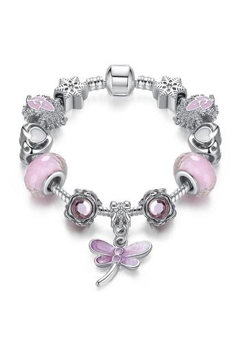 YOUNIQ 粉紅色 and 銀色 銀色粉紅色配蜻蜓垂飾水晶珠穆拉諾18cm手鏈 A651BACF24C348GS_1