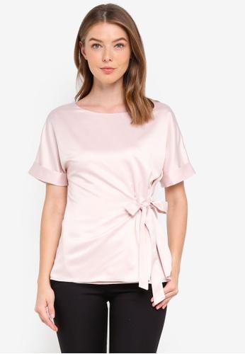 Wallis pink Blush Tie Front Top 51184AA74C99B2GS_1