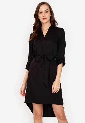 ZALORA WORK black Notch Neck Rolled Up Sleeves Dress 17B27AA661CC6DGS_1