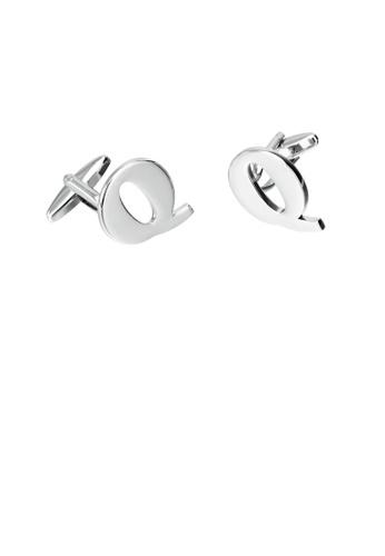 Glamorousky 銀色 簡約個性英文字母Q袖扣 70A5DAC35F7353GS_1