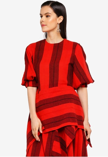 AfiqM red Cocoon Sleeve Top 9289EAAD106093GS_1