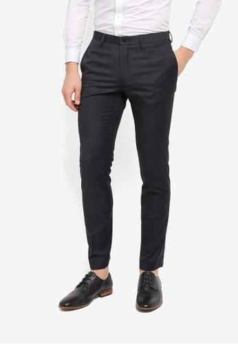 Burton Menswear London grey Grey Wool Blend Skinny Fit Checked Trousers BU964AA0T1GYMY_1