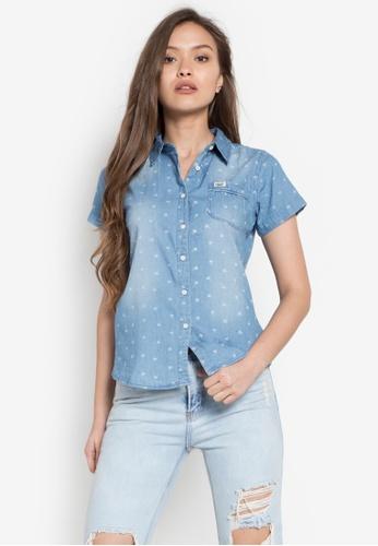 Stylistic Mr. Lee blue Short Sleeves Floral Pattern Wash Denim Shirt MR206AA0KEUAPH_1