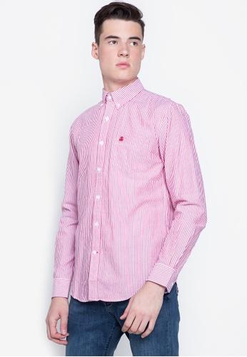 Cortefiel red Button Down Stripe Oxford Shirt BAC64AA93CBE29GS_1