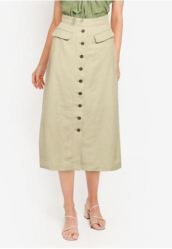 LOWRYS FARM green Midi Buttoned Skirt B9ED0AA1075077GS_1
