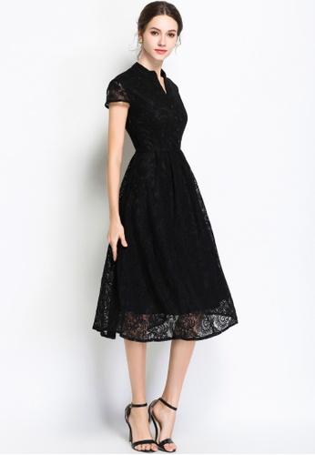 hk-ehunter black Lace A-line Dress D46FAAA3D0A0C6GS_1