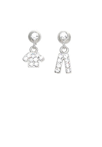 Glamorousky silver Trendy Top and Pants Earrings with Silver Austrian Element Crystals EAD04ACC95BCC3GS_1