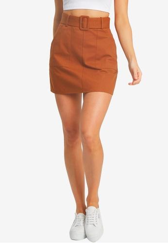 Calli brown Lara Belted Mini Skirt 31938AA9115BF0GS_1