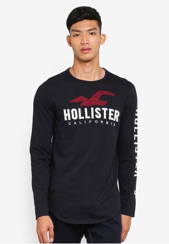 Hollister 黑色 長袖印花T恤 3B4DDAA769F1D2GS_1