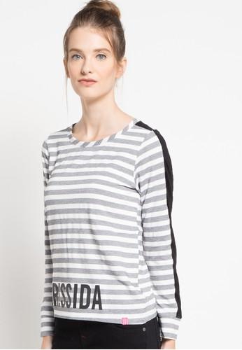 Cressida Ladies grey Texture Striped Sweatshirt CR653AA37QNIID_1