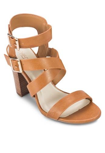 Tigris 雙扣環交叉繞踝粗跟鞋, 女鞋,esprit台灣門市 鞋