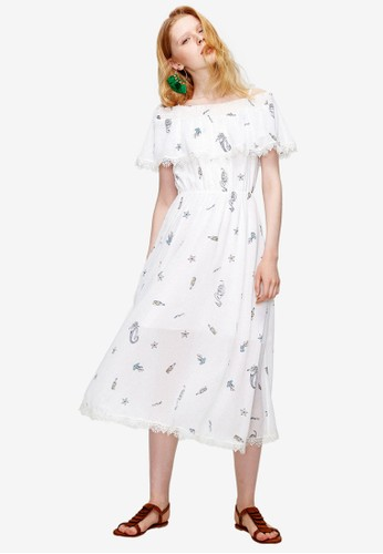 Hopeshow white and multi Printed Off Shoulder Midi Dress 5DF87AA9D9DFCBGS_1