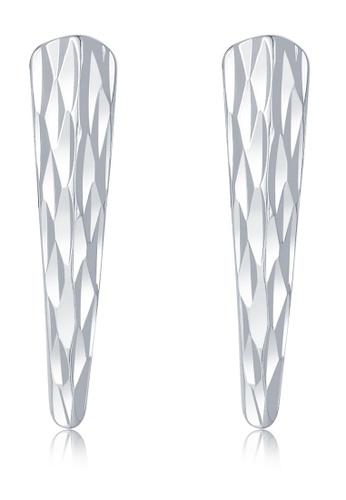 MaBelle silver 14K 585 White Gold Diamond Cut Bar Stud Earrings D4F3AAC7A20F0EGS_1