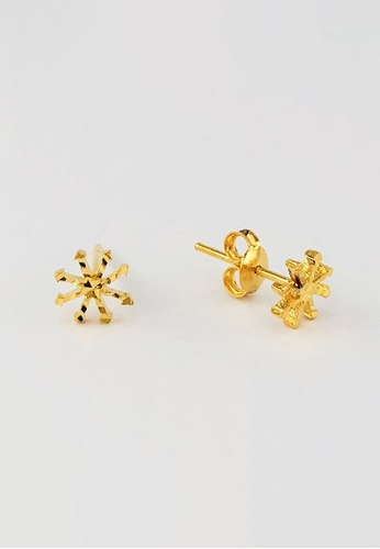 Arthesdam Jewellery gold Arthesdam Jewellery 916 Gold Sparkly Snowflake Earrings 8700DAC127C800GS_1