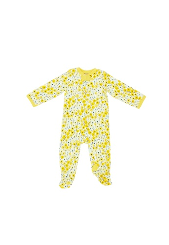 Baby Lovett white Summer Blooms Two-Way Zipper Suit with Footies 6DF1AKA0E8C1C9GS_1