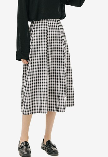 Shopsfashion black and white Checked Midi Flare Skirt 03F56AA05B9B72GS_1