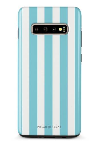 Polar Polar blue Baby Blue Stripe Samsung Galaxy S10 Plus Dual-Layer Protective Phone Case (Glossy) 8843CAC088B599GS_1