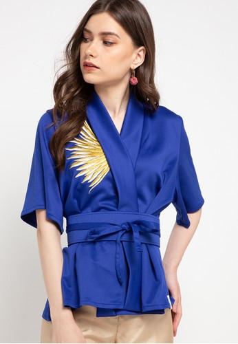 Ans.Ein blue Golden Wings Royal Kimono Top BC09EAACE3BBB3GS_1