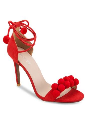 毛球飾繞踝細高zalora鞋跟鞋, 女鞋, 鞋
