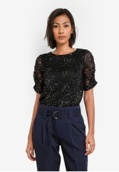 Dorothy Perkins black Sequin Ruched Sleeve Top DO816AA0S7A2MY_1