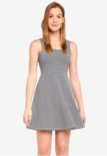 Dorothy Perkins 黑色 Petite Stripe Jersey Fit And Flare Dress AA987AA3857311GS_1