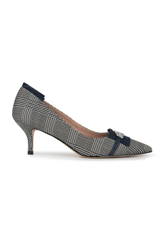 MAUD FRIZON grey CHECKED FABRIC POINTY TOE PUMP WITH KID SUEDE FFD26SH42D8837GS_1