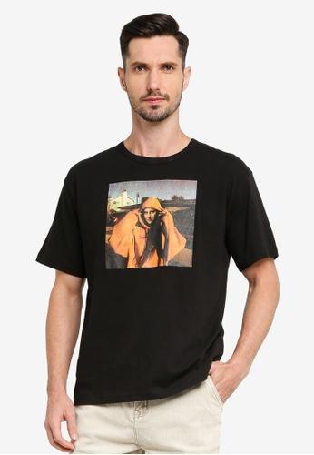 UniqTee black Swagger Mona Lisa Printed Oversized Tee 59304AA2116AC8GS_1